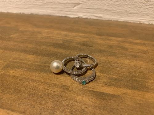 真珠とダイヤとパライバトルマリンの指輪