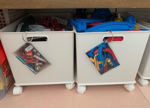 サンカインボックスに目印の写真をつけたおもちゃ収納