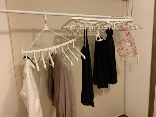 乾太くんが来てから手で干している洗濯物はこれだけ